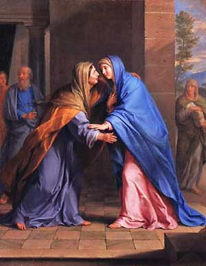 Picture of the Blessed Virgin Mary and her cousin Elizabeth in the Visitation by Philippe de Champagne courtesy of Wikipedia