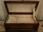 Mary Bernadette Victoria's casket; handmade by Trappist monks; lovingly donated by our friends.